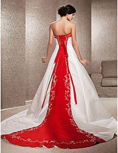 Wedding Dress A Line Chapel Train Satin Strapless With Embro... – USD $ 199.99