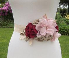 Burgundy and Blush Pink Floral Bridal Sash with Champagne