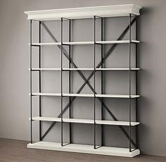 Parisian Cornice Wide Bookcase ----love this for my living room with dark wood trim instead of white!