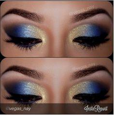Beautiful blue and gold smokey eye makeup