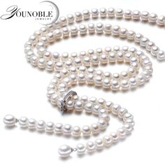 FuzWeb:YouNoble Wedding real Freshwater pearl long mother necklace women,white real natural bridal pearl necklace body for girl jewelry Fashion Jewelry Necklaces, Girls Jewelry, Pearl Jewelry, Fine Jewelry, Women Jewelry, Jewellery, Silver Jewelry, Long Pearl Necklaces, White Pearl Necklace