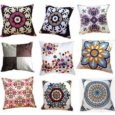 Luxury Cotton Canvas Crewel Embroidery Cushion Cover,Home Decorate Wedding Bedding Sofa Chair Outdoor Pillow Case