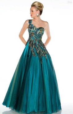 CustomDress Long Peacock Embroidered Party Ball Homecoming Prom Dresses (US 16, Turquoise)