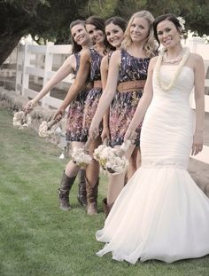 printed country bridesmaid dresses