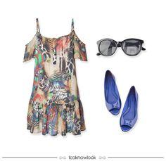 Vestido Estampado + Óculos de Sol + Sapatilha Peep Toe Bic | Summer Look | Dress and Flats #moda #look #outfit #looknowlook