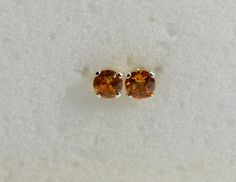 Sapphire earrings studs | orange sapphire, sterling silver, 3mm, small earrings,september birthstone, natural sapphire, stud earrings,child