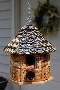 Beer cap and cork bird house