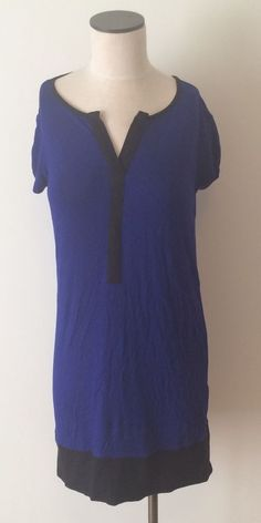 Blue Purple Indigo Black Rayon Daisy Fuentes Stretch Color Block Shirt Dress S #DaisyFuentes #Tunic #Casual