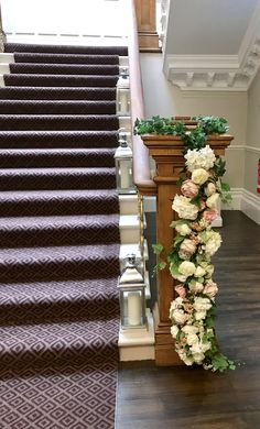 Stunning staircase at Ashfield House dressed with beautiful everlasting peonies, roses and ivy. Civil Ceremony, House Dress, Bridal Flowers, Floral Wedding, Peonies, Ivy, Floral Design, Stylists, Roses