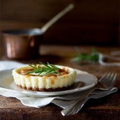 Goat Cheese Cheesecake with Rosemary Caramel