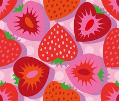 """Strawberry Pattern  Motiv: """"Strawberry field-04-01"""" (#67123) © Cassiopee  Design entry to stoffn's strawberry pattern contest in June 2015"""