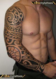 full sleeve tattoo. Polynesian tribal tattoo.
