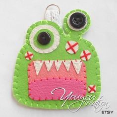Leather keychain Apple green Monster hand sewn by YouYouCreation, $7.00