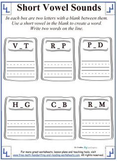 write a u under the words using the short vowel form   Short Vowels ...