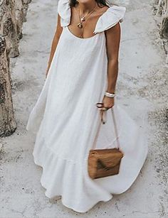 Casual Nice Sleeveless Round Neck Ruffled Trim Stringy Selvedge Plain Maxi Swing Dress for Girls, Street Chic, Look Boho, Maxi Robes, Beach Casual, Mode Inspiration, Elegant Woman, Daily Fashion, 80s Fashion, Club Fashion
