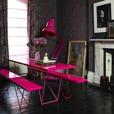 hot pink desk.