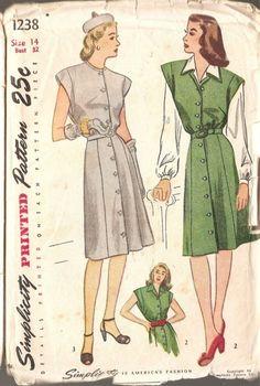 1940s Ladies Misses WWII jumper dress UNCUT Vintage SIMPLICITY Misses dress jumper blouse sz 14 via Etsy