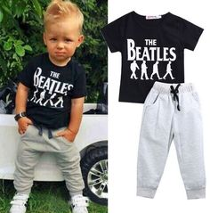 "$15- Boy's ""Beatles"" 2PC Outfit Sizes: 2T/3T/4T/5/6 Free Shipping Place orders…"