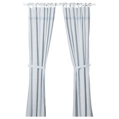 IKEA - GULSPARV Curtains with tie-backs, 1 pair striped blue, white - sophia. Outdoor Curtains For Patio, Patio Door Curtains, Nursery Curtains, Kids Curtains, Blue Striped Curtains, White Curtains, Curtains Without Sewing, Tie Top Curtains, Articles Pour Enfants