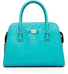 Michael Kors Ostrich-Embossed Leather Satchel....turquoise and it's a purse....combo delight!