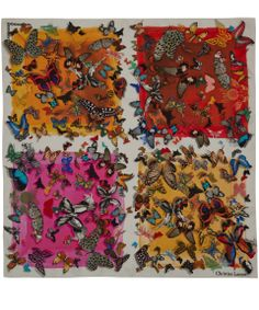 Christian Lacroix Orange Butterfly Square Print Silk Scarf | Scarves by Christian Lacroix | Liberty.co.uk