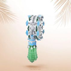 """Last weekend to visit the Van Cleef & Arpels ""45 years in Beverly Hills"" exhibition. 2012 Zip necklace - white gold, jade, turquoise, chrysoprase and…"""