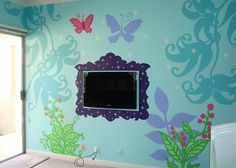 disney frame around flat sceen tv | Fairy Forest Mural and Butterfly Template Download - Ashley Hackshaw ...