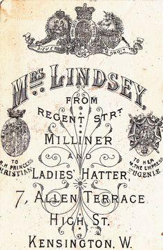 mrs lindsay milliner & ladies hatter  - regent street - allen terrace back