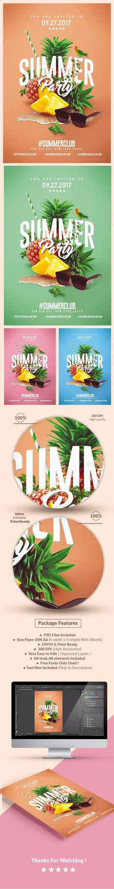 Summer Party | Psd Flyer Template 4 by Creative Flyers on Creative Market…