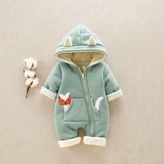 Cute Appliqued Pocket Fox Quilted Hooded Jumpsuit for Baby