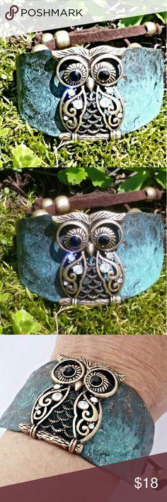 Unique Owl Bracelet Very unique owl bracelet. Adjustable length. Slips over wrist with adjustable laces. Very comfortable Lady Adorned Boutique Jewelry Bracelets