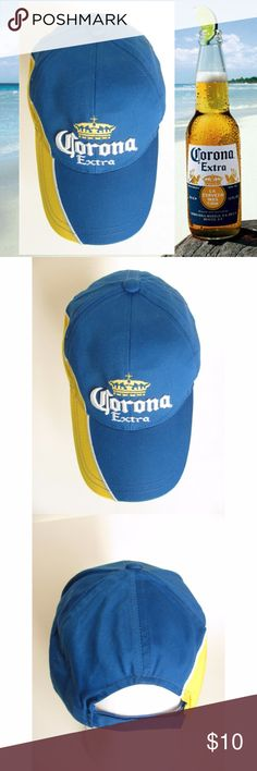 Corona Beer Hat Baseball Cap Blue Adjustable New Corona Extra beer baseball cap. Blue and yellow 100% cotton hat with white and yellow embroidery. One size fits all with adjustable strap back with Velcro. New, no tags. Corona Beer Accessories Hats