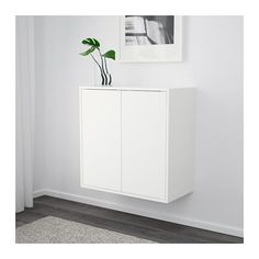 EKET Cabinet w 2 doors and 1 shelf - white - IKEA Switzerland Ikea Wall Shelves, Shelving, Ikea Storage, Smart Storage, Ikea Eket, Flexible Furniture, Dining Chair Set, New Furniture, Storage Solutions