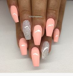 67 Acrylic Gel Nail Art Design Ideas For Summertime - Nails - Nageldesign Summer Acrylic Nails, Best Acrylic Nails, Acrylic Art, Coral Acrylic Nails, Summer Nails, Pink Summer, Pastel Pink Nails, Acrylic Nails Coffin Glitter, Baby Pink Nails