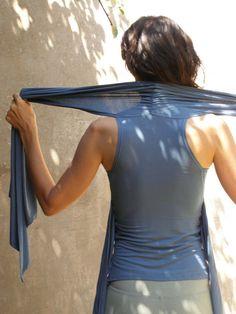 Summer wrap top The endless Triangular vestBlue wrap by SHIHAR