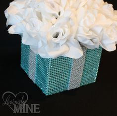 Centerpiece - Tiffany Co. Inspired BLING Box with White Silk Roses - Tiffany Blue and White - Medium Size. $25.00, via Etsy.