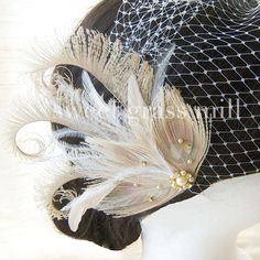 Fascinator & Veil Set - CHAMPAGNE SOIREE - Bleached Beige Peacock Ostrich Feather Wedding Great Gatsby Headpiece and Birdcage Veil