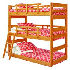 Woodcrest Heartland Triple Bunk Bed - Great for any kid's room, cabin, or bunkhouse, the Woodcrest Heartland Triple Bunk Bed stacks three twin beds securely. Safety rails along the sides...