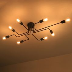 Industrial Edison Bulb Wrought Iron 8 Light Large  Semi Flush Ceiling Light in Black