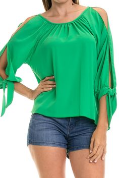 Solid Slit Sleeve High Low Top-Kelly Green $36