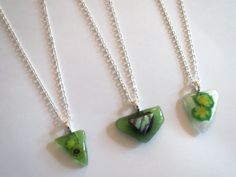 Your Choice of Green Triangle Fused Glass Pendant by Emerald City Custom Jewelry