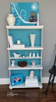 Repurposed dresser drawers make a useful bookshelf.  Stack several unwanted dresser drawers together to make a DIY bookcase that you can customize.