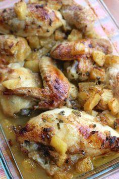Roasted pineapple rum chicken