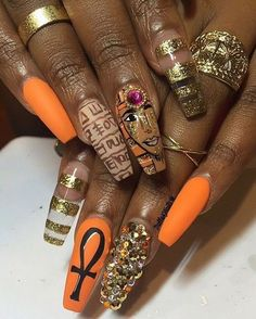 44 Excellent Egyptian Nail Art Designs and Ideas Diva Nails, Glam Nails, Cute Nails, Pretty Nails, Egyptian Nails, Hair And Nails, My Nails, Nailart, Nail Games