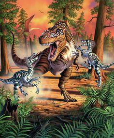 Digital Art - Dino Battle by Jerry LoFaro , Dinosaur Fight, Dinosaur Fossils, The Good Dinosaur, Dinosaur Art, Prehistoric Wildlife, Prehistoric Creatures, Jurrassic Park, Dinosaur Fabric, Dinosaur Pictures