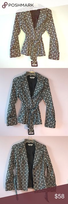 Geometric Belted Jacket Classic black and white patterned lightweight slim fitting blazer style jacket. Hidden fabric snaps, wide belt w/buckle, hidden pockets, wide cuffed sleeve hems. Quality construction doesn't bunch up around arms when stretching. Beautiful fit!! Perfect for spring/summer parties over little dress w/strappy heels!! appraisal Jackets & Coats