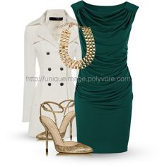 Green Draped Dress, created by uniqueimage on Polyvore