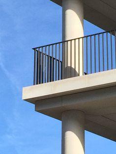 David Chipperfield, Kensington Rectangular black painted metal balustrade, concrete balcony and pillars