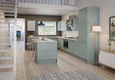 The light blue matt slab doors of the Meteor range offer a stylish kitchen that promises to stay in fashion. View this modern kitchen style today. Big Kitchen, Kitchen Units, Stylish Kitchen, Kitchen Ideas, Functional Kitchen, Kitchen Reno, Kitchen Layout, Kitchen Stuff, Kitchen Designs