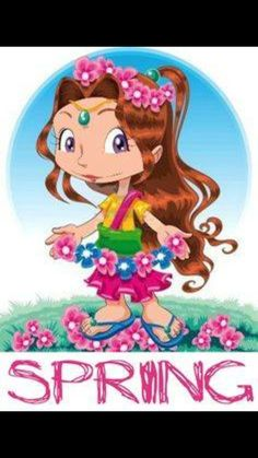 by ddraw Spring girl. Funny cartoon and vector character Weather For Kids, Alphabet, Spring Girl, English Activities, Fairy Princesses, Seasons Of The Year, Illustration Girl, Illustrations, Childhood Education